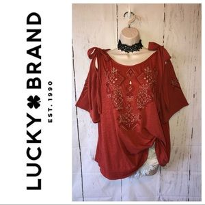 Lucky Brand boho embroidered tie shoulder top